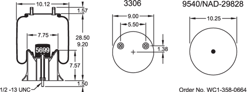 Triangle Air Spring or Air Bag, 8465